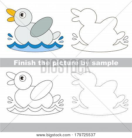 Drawing worksheet for preschool kids with easy gaming level of difficulty, simple educational game for kids to finish the picture by sample and draw the One funny white duck