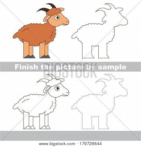 Drawing worksheet for preschool kids with easy gaming level of difficulty, simple educational game for kids to finish the picture by sample and draw the Horn Goat