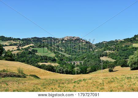 Countryside panorama and far view to Urbino Italy.