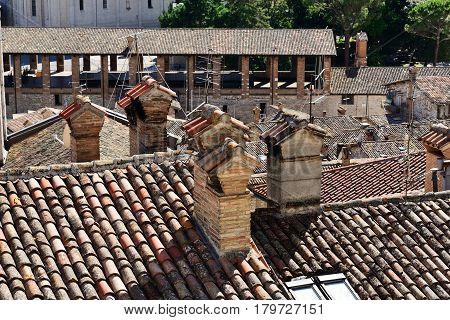 Medieval tiling roofs panorama in Gubbio Umbria Region Perugia Province / Metropolitan city Italy.