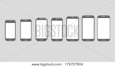 smart phone in evolution on gray background