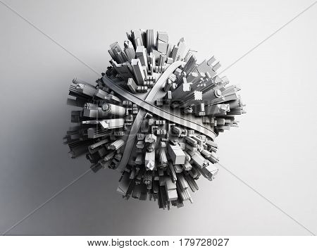 white megalopolis aerial view 3d render image