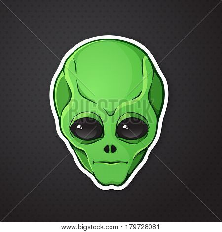 Vector illustration. Head of the alien with green skin. Sticker in cartoon style with contour. Decoration for greeting cards, patches, prints for clothes, badges, posters, emblems