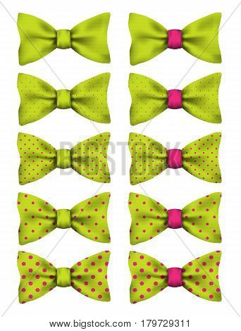 Lime green bow tie with pink dots set realistic vector illustration isolated on white background