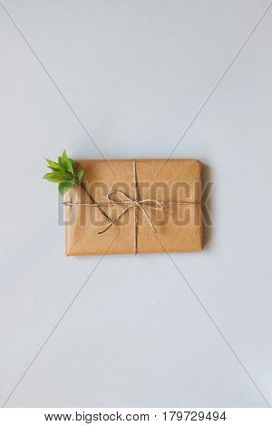 Cute Gift Box Wrapped With Craft Paper Top View