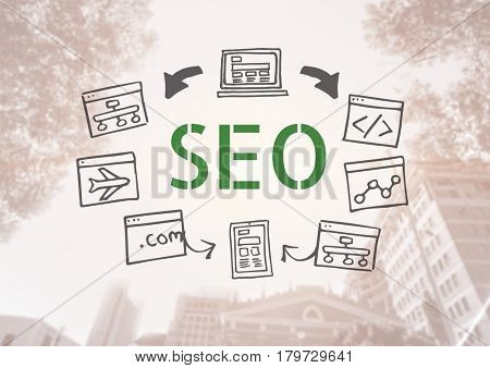 Digital composite of SEO text with drawings graphics
