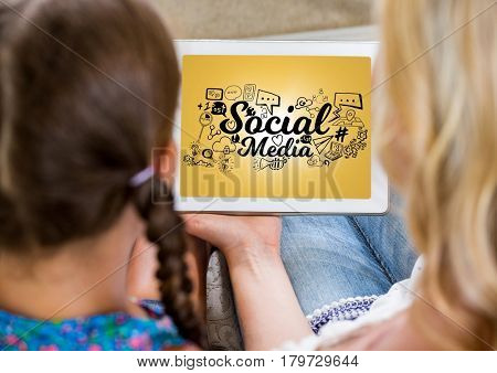 Digital composite of Mother and daughter with tablet showing black social media doodles against yellow background and fla