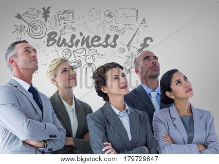 Digital composite of Business people with Business graphics drawings