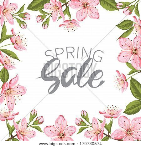 Advertisement about the spring sale.Frame of blooming Sakura flower on white background. Vector illustration.