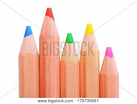 Various color pencils isolated on the white background with work path. Close up macro shot of color pencil pile pencil nibs