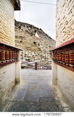 Marpha small town in Lower Mustang area Annapurna circuit trekking trail Nepal