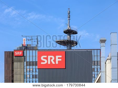 Zurich, Switzerland - 29 March, 2017: upper part of the building of the Swiss Radio and Television company. Swiss Radio and Television (German: Schweizer Radio und Fernsehen or SRF) is a Swiss broadcasting company, established on 1 January 2011.