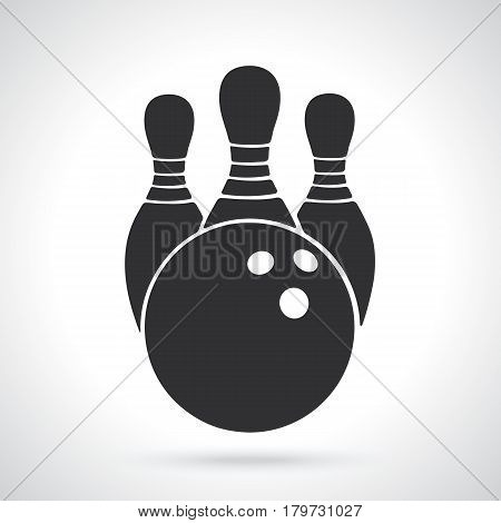 Vector illustration. Silhouette of bowling ball and pins. Sports equipment. Patterns elements for greeting cards, wallpapers