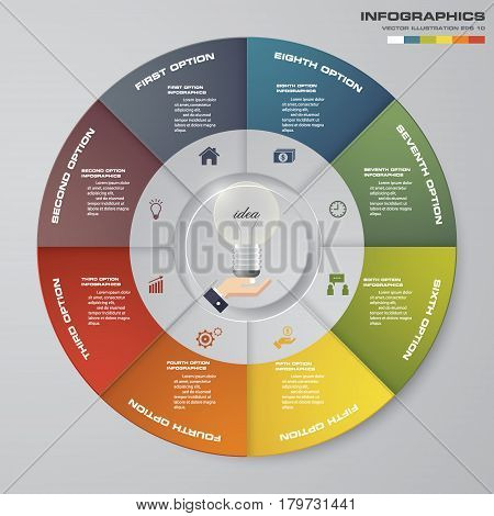 Abstract 8 steps circle/wheel infographis elements.Vector illustration.