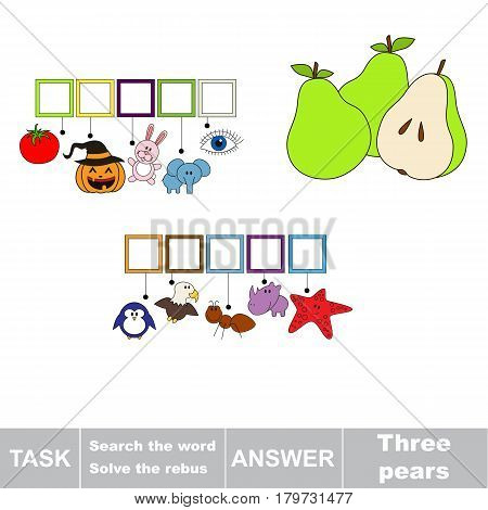 Educational puzzle game for kids. Find the hidden word Three Pears