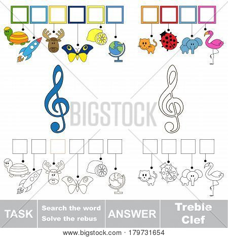 Educational puzzle game for preschool kids. Find the hidden words Treble Clef