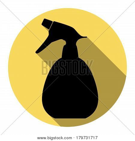 Spray bottle for cleaning sign. Vector. Flat black icon with flat shadow on royal yellow circle with white background. Isolated.