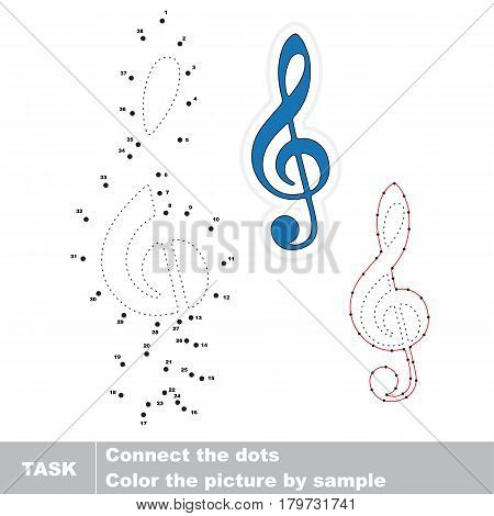 Blue Treble Clef. Dot to dot educational numbers game for preschool kids.