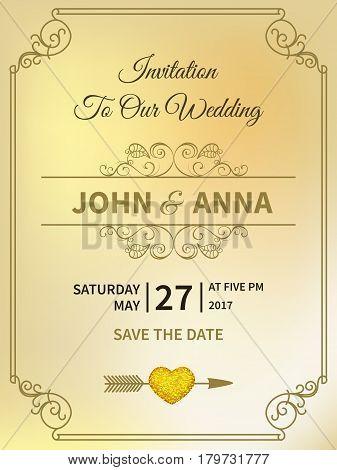 Vintage wedding invitation linear thin line geometric shape art deco retro design frame