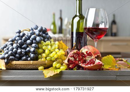 Ripe Juicy Grape And Glass Of Wine