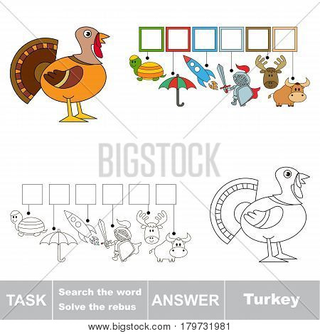 Educational puzzle game for preschool kids. Find the hidden word Turkey