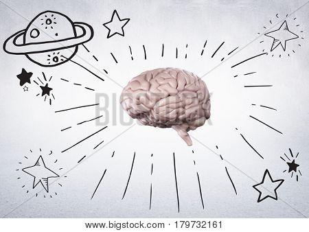Digital composite of Pink brain with black space doodles against white wall