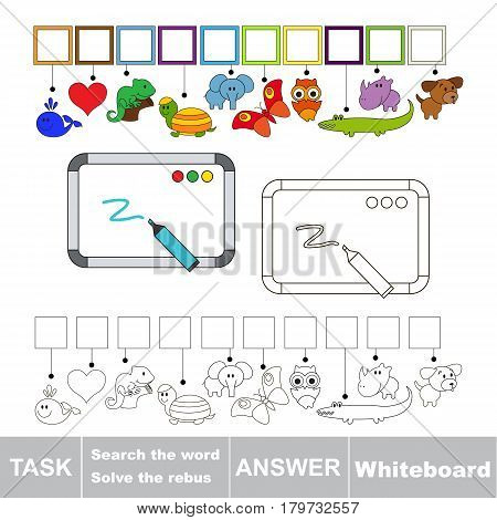 Educational puzzle game for preschool kids. Find the hidden word Whiteboard
