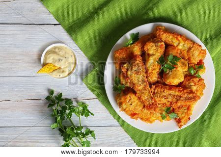 Batter Fried Perch Served On White Plate