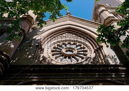 ornate synagogue facade in central business district of sydney new south wales australia