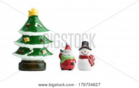 Ceramic Santa Clause Snowman and Christmas tree models isolated on white background