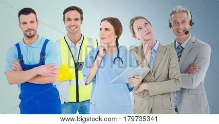 Digital composite of Business woman and call center man, doctor, handy man and builder against blue background