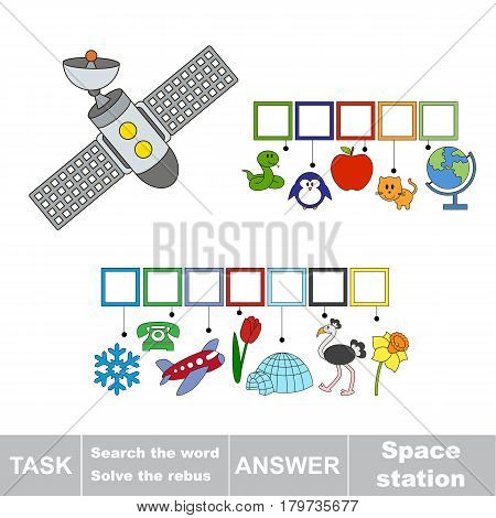 Educational puzzle game for kids. Find the hidden word Space Station