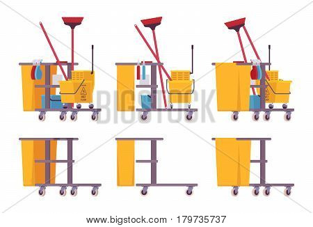 Full and empty yellow plastic janitor cart with shelves, mop and broom holder to keep cleaning tools at hand, large platform, tool for janitorial staff, isolated, white background, different positions