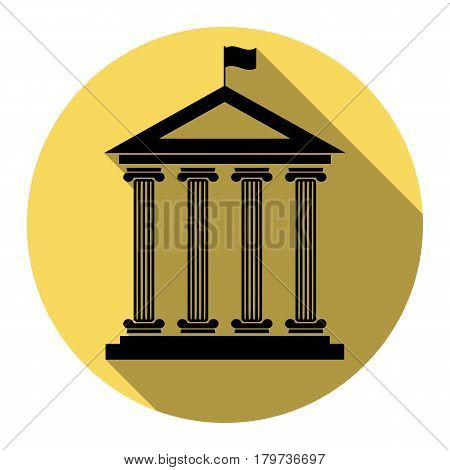 Historical building with flag. Vector. Flat black icon with flat shadow on royal yellow circle with white background. Isolated.