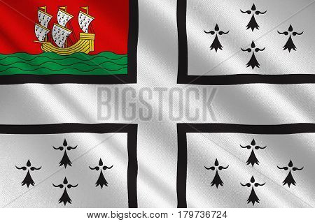 Flag of Nantes is a city in Pays de la Loire is a Region of France. 3d illustration
