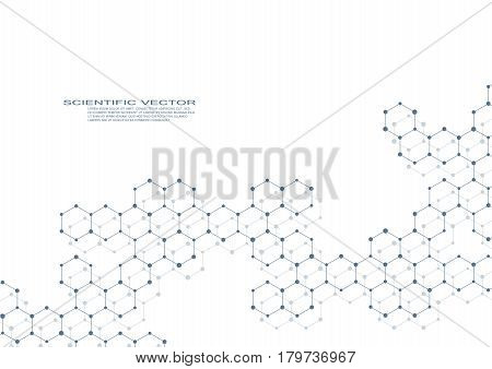 Hexagonal molecule DNA. Molecular structure of neurons system. Genetic and chemical compounds. Chemistry, medicine, science and technology concept. Geometric abstract background. Vector illustration.