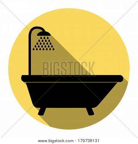 Bathtub sign. Vector. Flat black icon with flat shadow on royal yellow circle with white background. Isolated.