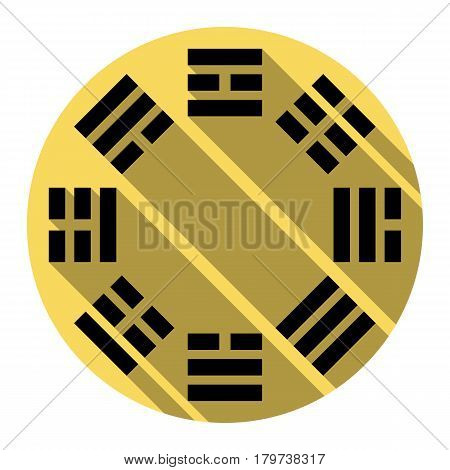 Bagua sign. Vector. Flat black icon with flat shadow on royal yellow circle with white background. Isolated.