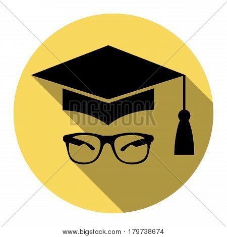 Mortar Board or Graduation Cap with glass. Vector. Flat black icon with flat shadow on royal yellow circle with white background. Isolated.