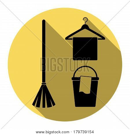 Broom, bucket and hanger sign. Vector. Flat black icon with flat shadow on royal yellow circle with white background. Isolated.