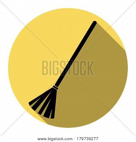 Sweeping broom sign. Vector. Flat black icon with flat shadow on royal yellow circle with white background. Isolated.
