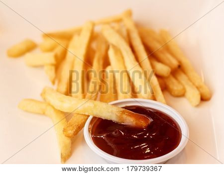 The Traditional French fries with ketchup, Food