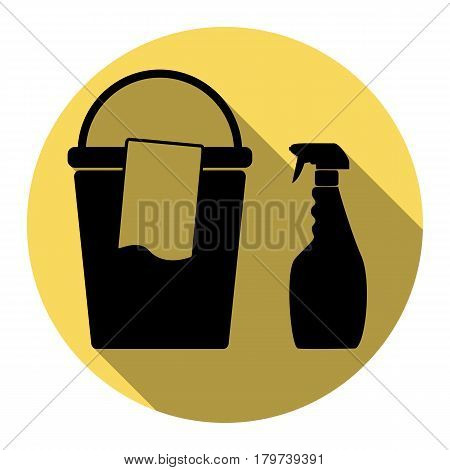 Bucket and a rag with Household chemical bottles. Vector. Flat black icon with flat shadow on royal yellow circle with white background. Isolated.
