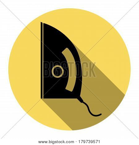 Iron sign. Vector. Flat black icon with flat shadow on royal yellow circle with white background. Isolated.
