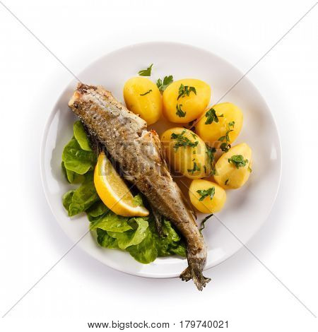 Fish dish - fried fish with potatoes