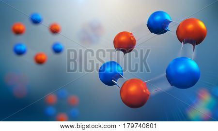 3d illustration of molecule model. Science or medical background with molecules and atoms.