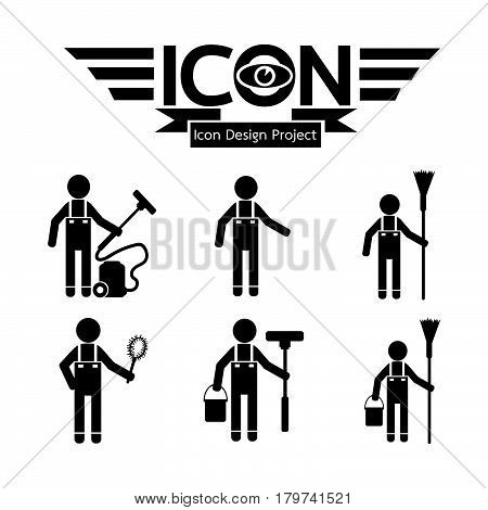 an images of Or pictogram Cleaner Man icon