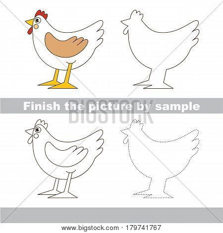 Drawing worksheet for preschool kids with easy gaming level of difficulty, simple educational game for kids to finish the picture by sample and draw the White Hen.