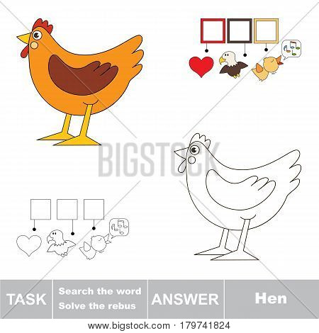 Educational puzzle game for kids. Find the hidden word Hen.