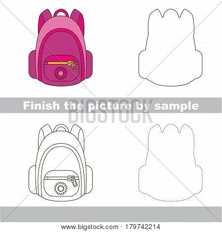 Drawing worksheet for preschool kids with easy gaming level of difficulty, simple educational game for kids to finish the picture by sample and draw the Pink School Bag